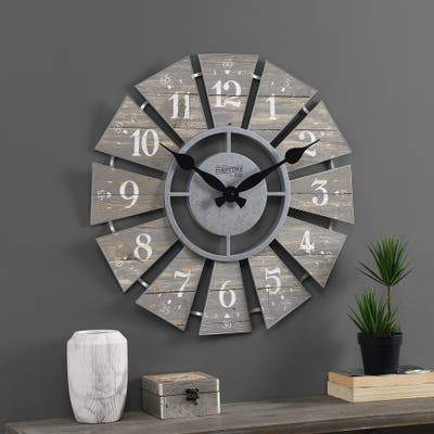 Numeral Farmhouse Windmill Clock, Plastic, 24 x 2 x 24 in, American Designed
