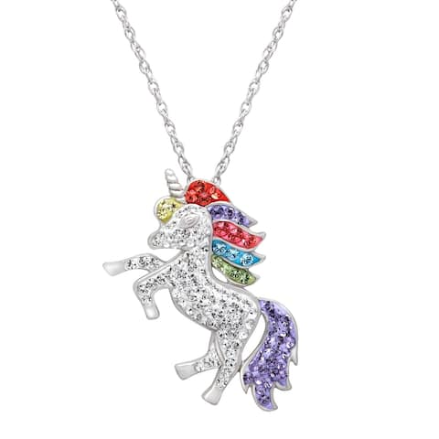Crystaluxe Unicorn Pendant with Crystals in Sterling Silver - Multi-Color