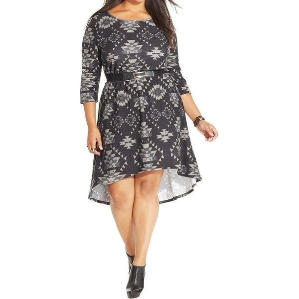 Trixxi Womens Plus Casual Dress Printed Hi-Low