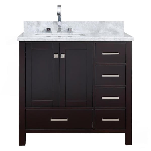 """Ariel A037SLCWRVO Cambridge 37"""" Floor Mounted Single Basin Vanity Set with Wood Cabinet, Marble Vanity Top, and Left Offset"""