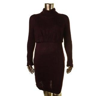 Calvin Klein Womens 2Fer Turtleneck Sweaterdress