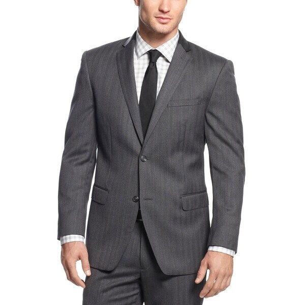 Marc New York Slim Fit Grey Herringbone Wool Suit 36 Short 36S ...