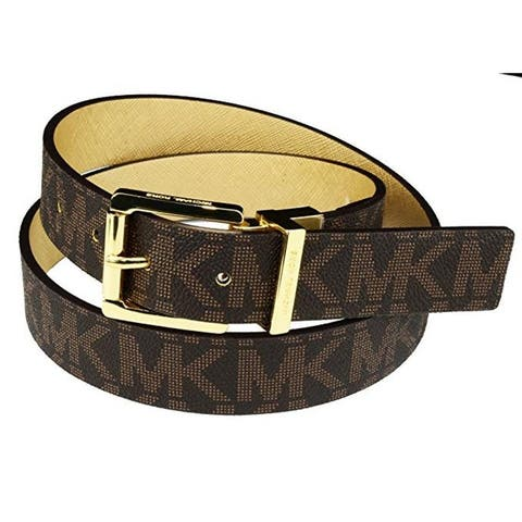 Michael Kors Womens Reversible MK Logo Gold Buckle Brown/Gold Belt, 553751C