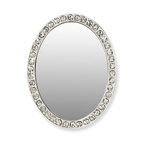 iDecoz Phone Mirror: Silver Oval w/ Pink Crystals - Multi