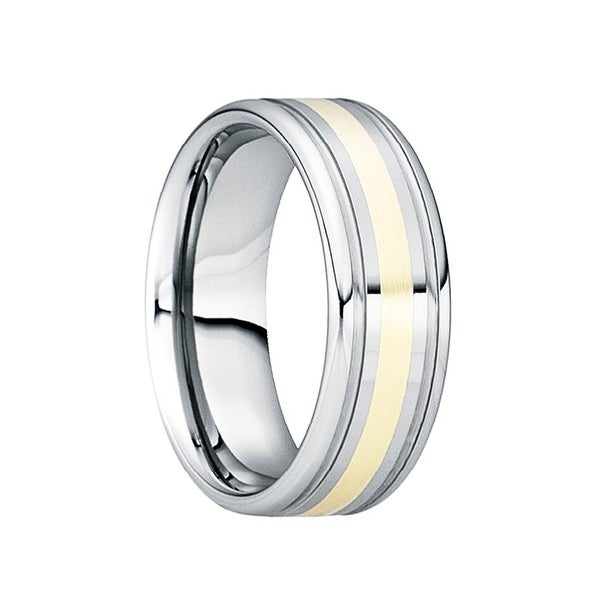 CAESAR 18K Yellow Gold Inlaid Tungsten Wedding Band with Dual Grooves by Crown Ring - 8mm