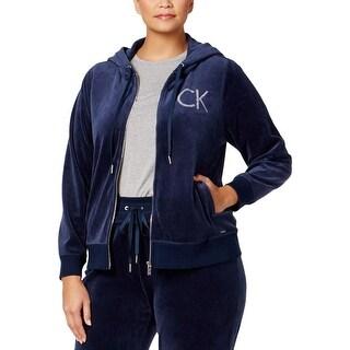 Calvin Klein Womens Plus Track Jacket Velour Embellished