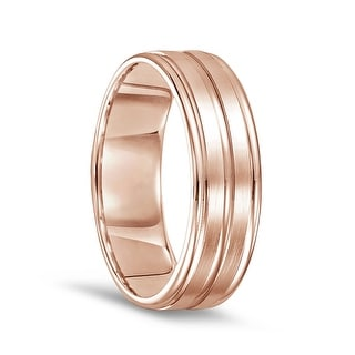 14k Rose Gold Mens Brushed Finished Polished Grooved Wedding Ring With Round Edges 7mm