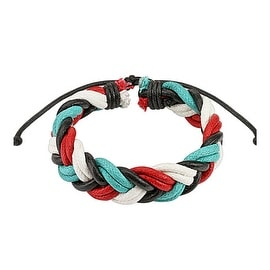 Quad-Colored Double Braided Leather Bracelet with Drawstrings (10 mm) - 7.5 in