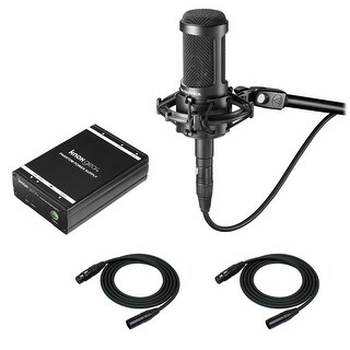 Audio-Technica AT2035 Microphone with Knox Power Supply & 2 XLR Cables