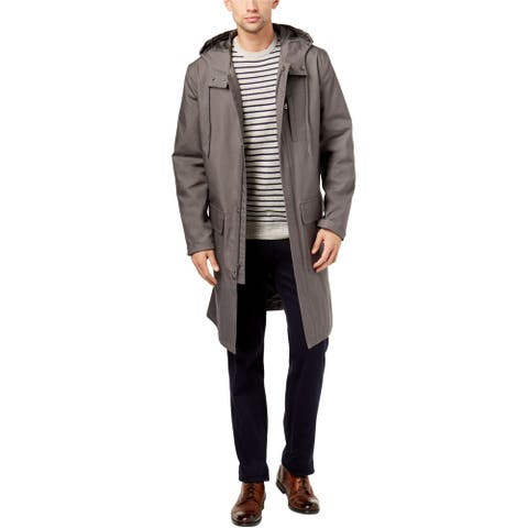 Club Room Mens Denmark Raincoat, Grey, Small (Long)