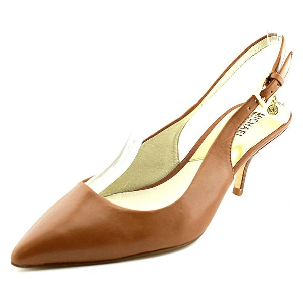 Michael Michael Kors Kelsey Kitten Sling Pointed Toe Leather Slingback Heel