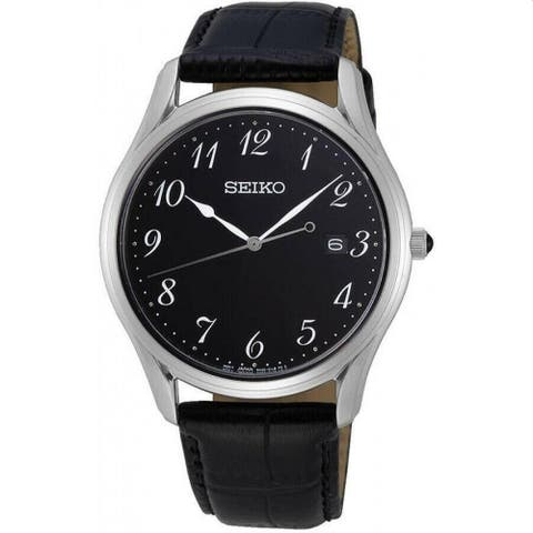 Seiko Men's SUR305 'Neo Classic' Black Leather Watch