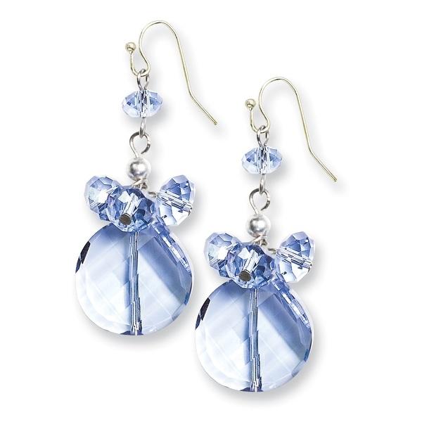 Silvertone Blue Crystal Shepherds Hook Earrings