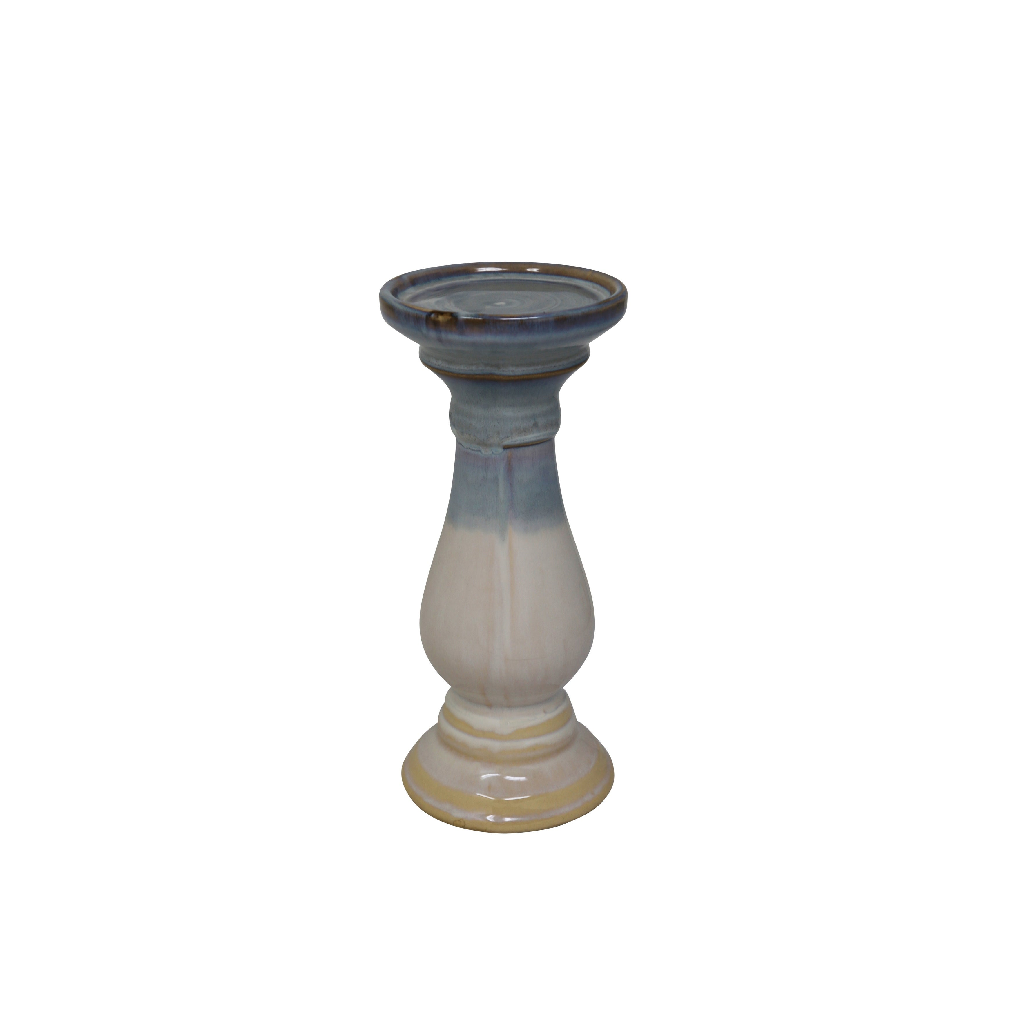 Dual Tone Decorative Ceramic Candle Holder with Bellied Bottom, Small, Multicolor