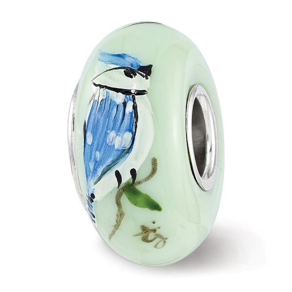 Sterling Silver Reflections Green Blue Jays Rule Fenton Glass Bead (4.5mm Diameter Hole)