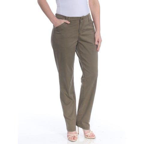 LEE Womens Green Tailored Chino Wear To Work Pants Size: 4