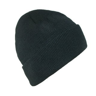 CTM® Men's Black Winter Stocking Knit Cuff Cap - One Size