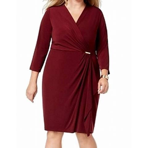 Charter Club Women's Dress Deep Red Size 1X Plus Faux Wrap Hardware