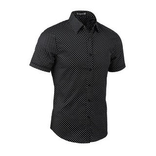 Unique Bargains Men Dots Point Collar Short Sleeves Button Down Shirt - Black