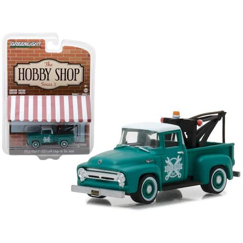 1956 Ford F-100 Green with Drop-in Tow Hook The Hobby Shop Series 2 1/64 Diecast Model Car by Greenlight