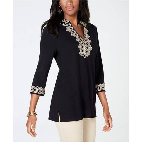 Charter Club Women's Lace Trim Tunic Top Black Size Medium