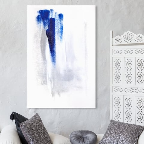 Oliver Gal 'Waterfall' Abstract Wall Art Canvas Print Paint - White, Blue