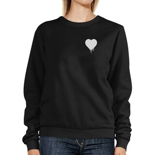 Melting Heart Unisex Black Graphic Sweatshirt Cute Pocket Design