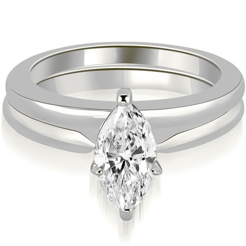 1/2ct 14K White Gold Classic Solitaire Marquise Cut Diamond Matching Set HI, SI1-2