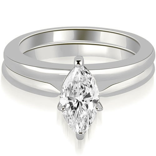 0.75 cttw. 14K White Gold Classic Solitaire Marquise Cut Diamond Bridal Set