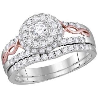 14kt Two-tone Gold Womens Natural Diamond Round EGL Bridal Wedding Engagement Ring Band Set 1.00 Cttw - White