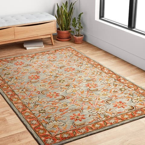Alexander Home Madaline Traditional Floral Hand-Hooked 100% Wool Area Rug