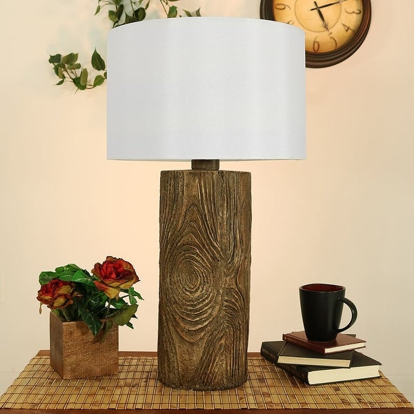 Sunnydaze Indoor Outdoor Nature Inspired Log Polyresin Table Lamp 26 Inch Tall