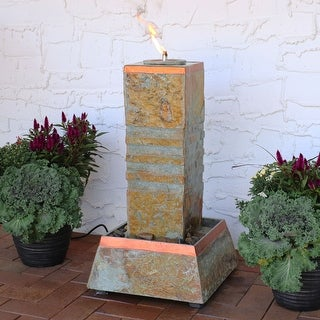 Sunnydaze Outdoor Floor Water Fountain Tower with Torch Top - Slate - 31-Inch
