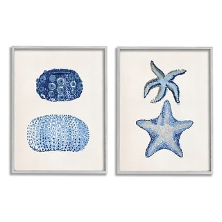 Link to Stupell Industries Minimal Nautical Sea Creatures Blue White Painting Framed Wall Art Similar Items in Canvas Art
