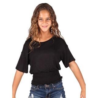 Lori & Jane Girls Black Solid Color Elastic Top