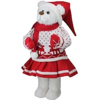 "20"" Retro Christmas Girl Santa Bear in Deer Sweater Christmas Figure Decoration - WHITE"