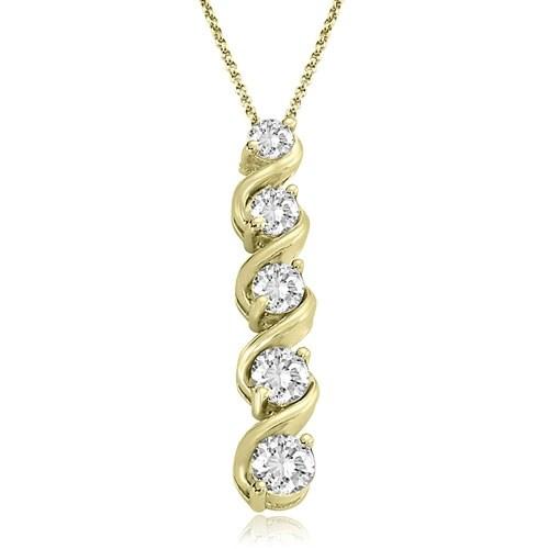 1.00 cttw. 14K Yellow Gold Round Cut Diamond Five-Stone Swirl Journey Pendant