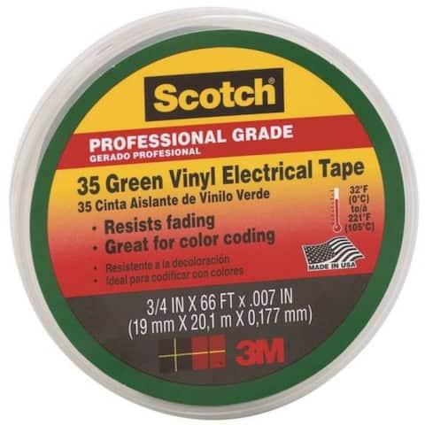 "Scotch 10851-DL-10 Professional Grade #35 Vinyl Electrical Tape, 3/4""x66', Green"