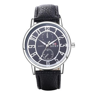 Charcoal Black Leather Metallic Tone Dial Tone Men's watch