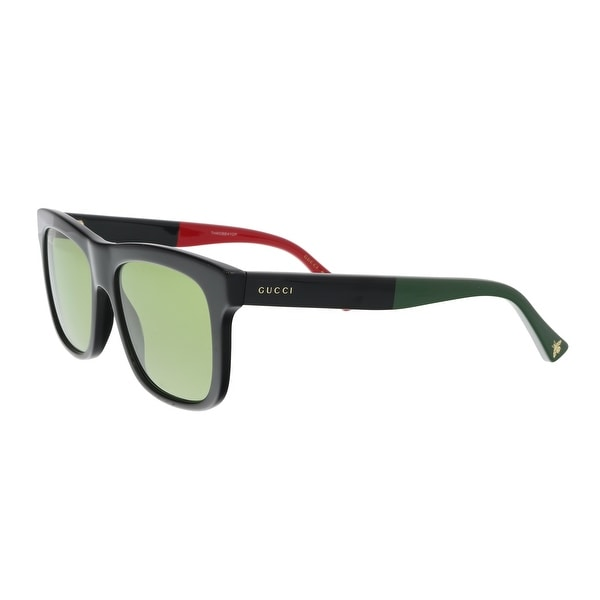 a6c7b0a28b3ef Shop Gucci GG0158S-004 Black Green Square Sunglasses - 54-17-145 ...
