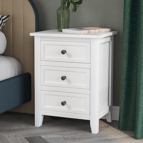 White Solid Wood 3-Drawer Nightstand Cabinet