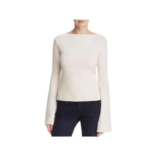 Elie Tahari Womens Jazma Pullover Sweater Merino Wool Lace-Up