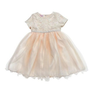 Baby Girls Champagne Sparkle Sequin Rhinestone Adorned Flower Girl Dress