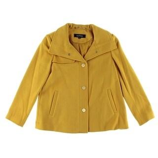 Ellen Tracy Womens Wool Blend Snap Closure Coat - 4P