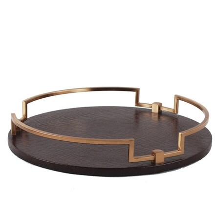 """G Home Collection Luxury Brown Leather Round Decorative Tray 14.6""""X2.4"""""""
