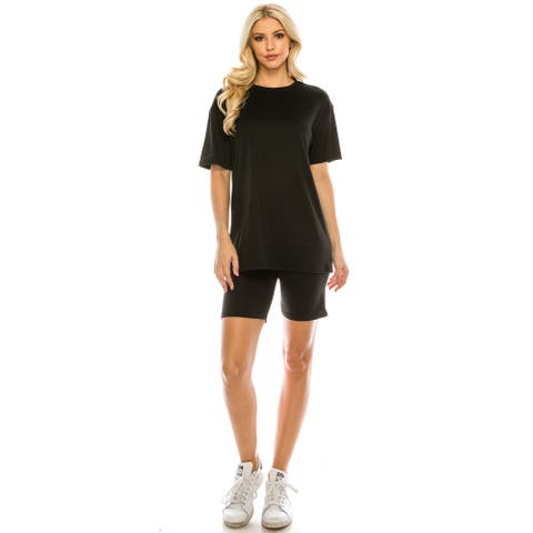 Haute Edition Matching Biker Short and T-Shirt Set with Plus