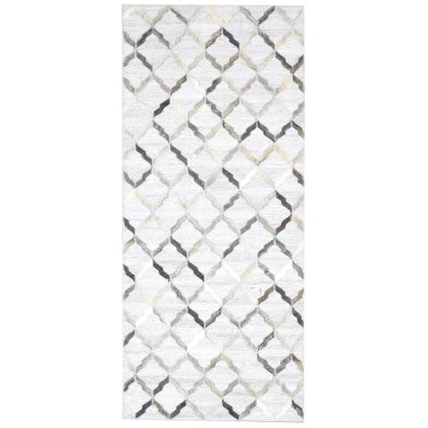 """One of a Kind Hand-Woven Modern & Contemporary 6' Runner Geometric Leather Grey Rug - 2'6""""x6'0"""""""