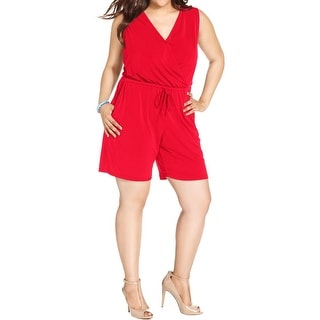 NY Collection Womens Plus Romper Matte Jersey Sleeveless