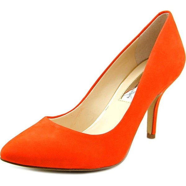 INC International Concepts Zitah Women Pointed Toe Leather Orange Heels