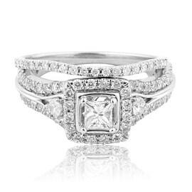 14K White Gold Wedding Ring Vintage Princess Cut Diamond Solitaire 9mm Wide 2pc Set 0.99cttw(i2/i3, i/j)